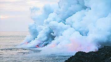 The most spectacular eruptions happen when the volcano is near an ocean or a sea. The hot lava pours into the ocean, leaving behind fluffy clouds of smoke on the water! If you want to see it too, just set the Smoke on Water wallpaper on your home screen!